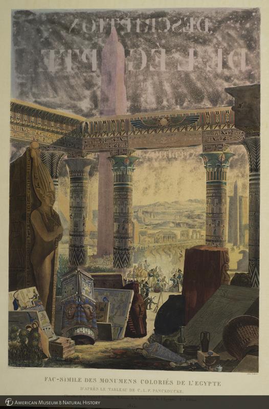 Fac-simile des monumens colories, frontispiece showing a tableau of Egyptian monuments from Description de l'Égypte