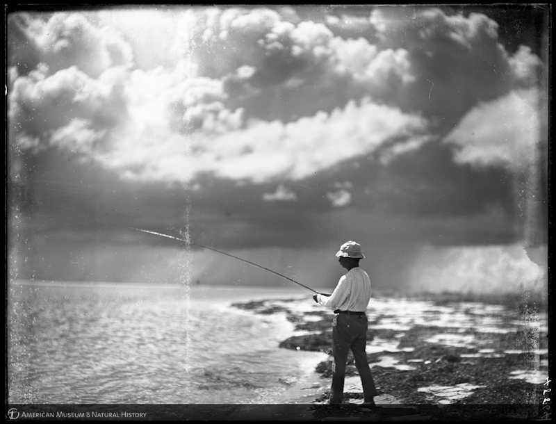 Anthony W. Dimock fly fishing, hurricane clouds above, Gasparilla, Florida, 1906