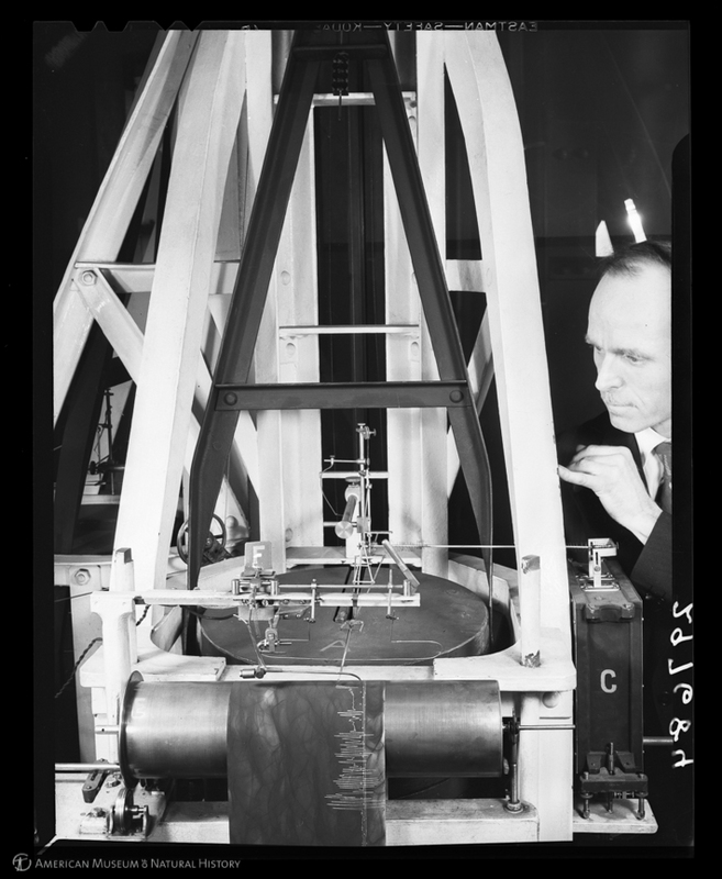R. T. Bird showing sensitivity of seismometer, American Museum of Natural History, 1943
