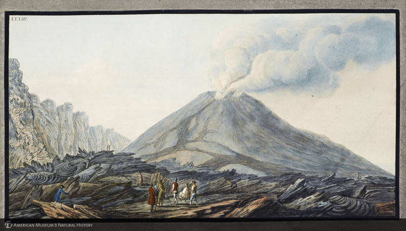 Hamilton walking through Monte Somma crater from Hamilton's Campi Phlegraei: observations on the volcanos of the Two Sicilies