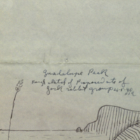 Guadalupe Peak. Rough sketch of proposed site of the Jackrabbit Group diorama background, Hall of North American Mammals, 1940