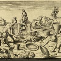 Timucua Indians preparing food from Bry's Americae