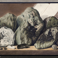 Volcanic rock samples and jeweled pin from Hamilton's Campi Phlegraei :observations on the volcanos of the Two Sicilies