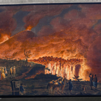 Hamilton observing Somma Vesuvius in full eruption from Hamilton's Campi Phlegraei: observations on the volcanos of the Two Sicilies