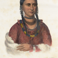 Portrait of Hayne Hudjihini, Eagle of Delight, from McKenney's History of the Indian tribes of North America