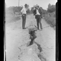 Photo sent by Dr. Charles C. Mook after earthquake of July, 1925, Three Forks, Montana