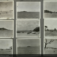 Landscapes, some with dwellings and vehicle, Africa, photographs mounted to card, for use in Lion Group, Akeley Hall of African Mammals
