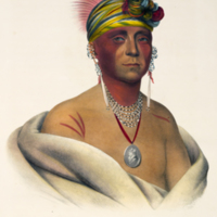 "Mon-Chonsia, a Kansas chief, White Plume (Kansa), portrait from Thomas Loraine McKenney's ""History of the Indian tribes of North America"""