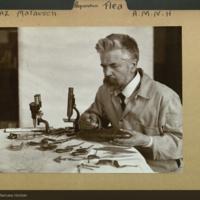 Ignaz Marausch constructing flea model, preparation folder