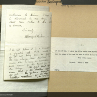 Clippings and letters from Percy E. Hunt, encountering sea serpent, curiosities folder