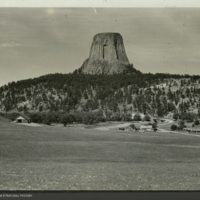 Devils Tower, photograph for use in Mule Deer Group, Hall of North American Mammals