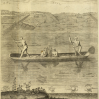 Native Americans fishing from canoe from Bry's Americae
