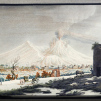 Somma-Vesuvius in winter, with horse-drawn carriage, from Hamilton's Campi Phlegraei: observations on the volcanos of the Two Sicilies
