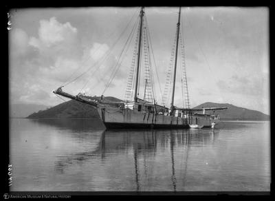 Schooner France on reef, Fiji 1925